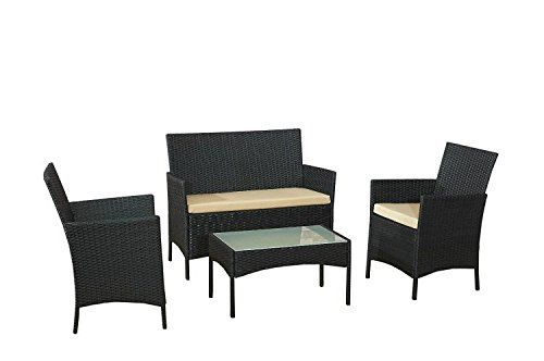 EBS Rattan Patio Garden Furniture Sets Patio Furniture Set Clearance Sale Wicker White Cushioned Coffee Table   2 Chairs - Black PE