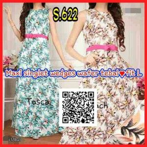 maxi dress terbaru lengan buntung remaja modern s622
