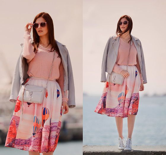 Get this look: http://lb.nu/look/8207757  More looks by Viktoriya Sener: http://lb.nu/viktoriyasener  Items in this look:  Stradivarius Leather Jacket, Chic Wish Skirt, Rebecca Minkoff Bag, Stradivarius Sweater, Adidas Trainers   #chic #romantic #street