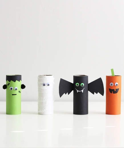 Cardboard Halloween Characters | All made from supplies found around the house.