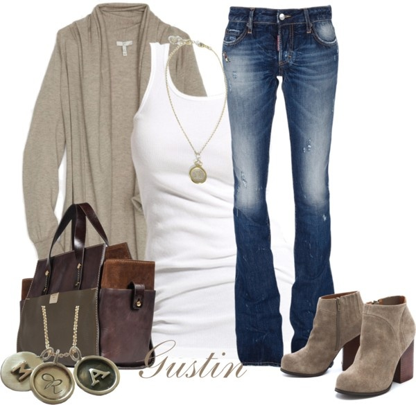 """""""tan cardigan"""" by stacy-gustin on Polyvore"""