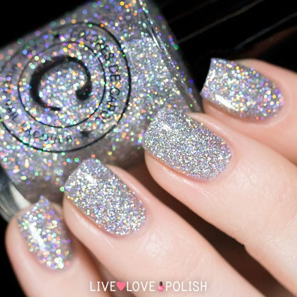 Shimmer And Sparkle Nail Polish: Holographic Silver Glitter Nail Polish