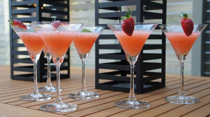 Strawberry Daiquiris to start - yum! #afreerangelife @Annabel Langbein