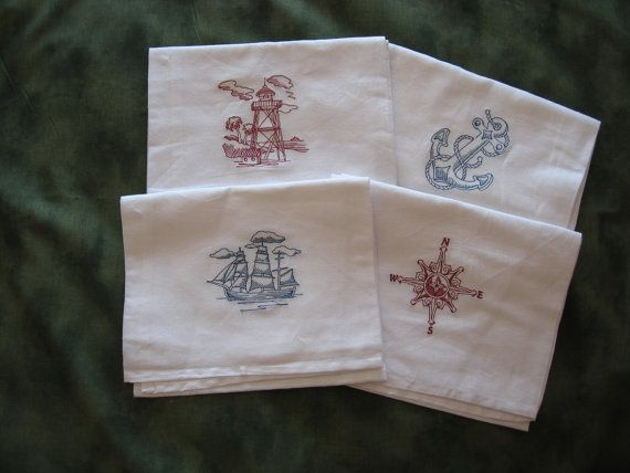 Machine Embroidered Nautical Dish Towel Set by CraftsbyJeanJanisch, $20.00
