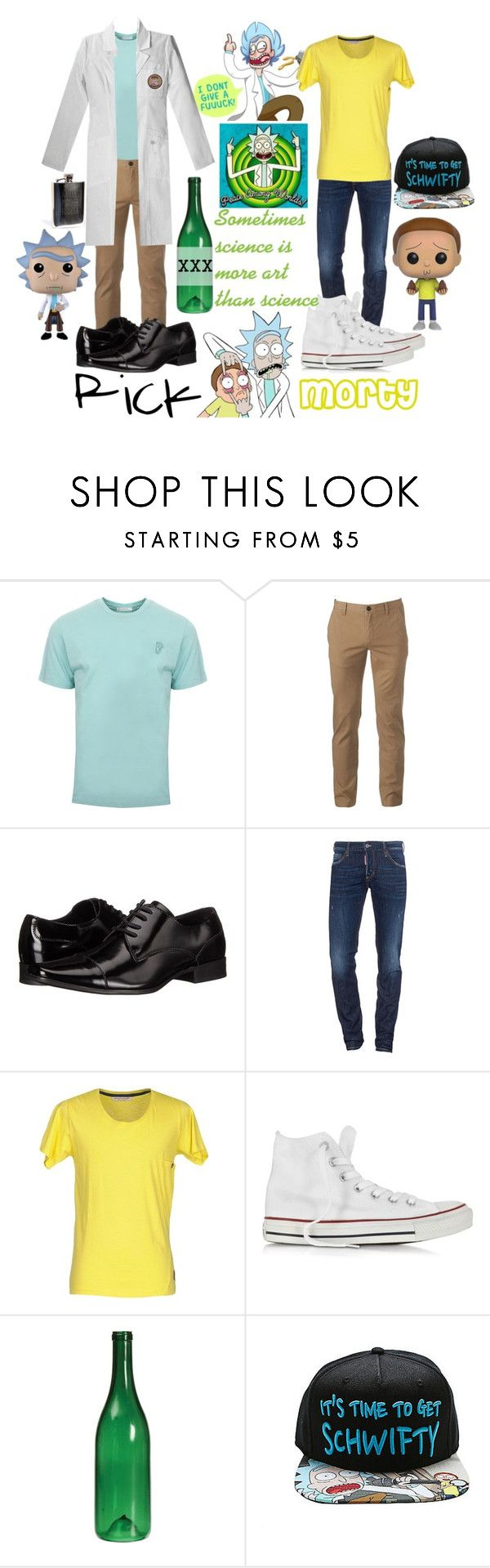 """Rick and morty (cosplay)"" by erinne1 ❤ liked on Polyvore featuring Versace, Urban Pipeline, Calvin Klein, Dsquared2, Anerkjendt, Converse, Funko, men's fashion and menswear"