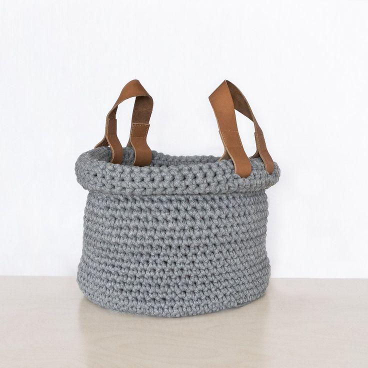 Hand-crocheted basket in grey  #crocheting #handmade #hnstly #grey #relaxing #livingroom #storage #basket