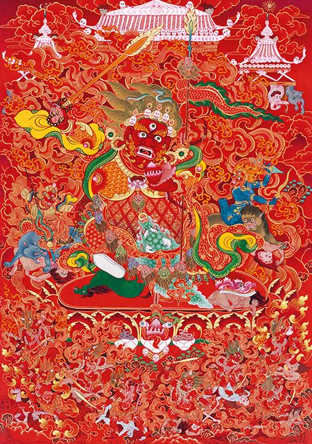 The protector deity Begtse,  (english: the Great Coat of Mail), was popularized within the Sarma (new) Schools of Tibetan Buddhism by Marpa Lotsawa (1012-1096) and Sachen Kunga Nyingpo (1092-1158), the respective founders of the Marpa Kagyu and Sakya Traditions of Tibetan Buddhism.