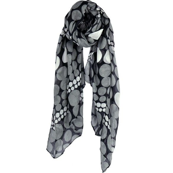 Share our site with family, friends, co-workers, and other social groups and get 20% off your next purchase of $25.00 or more. Black, Gray, and White Polka Dot Scarf