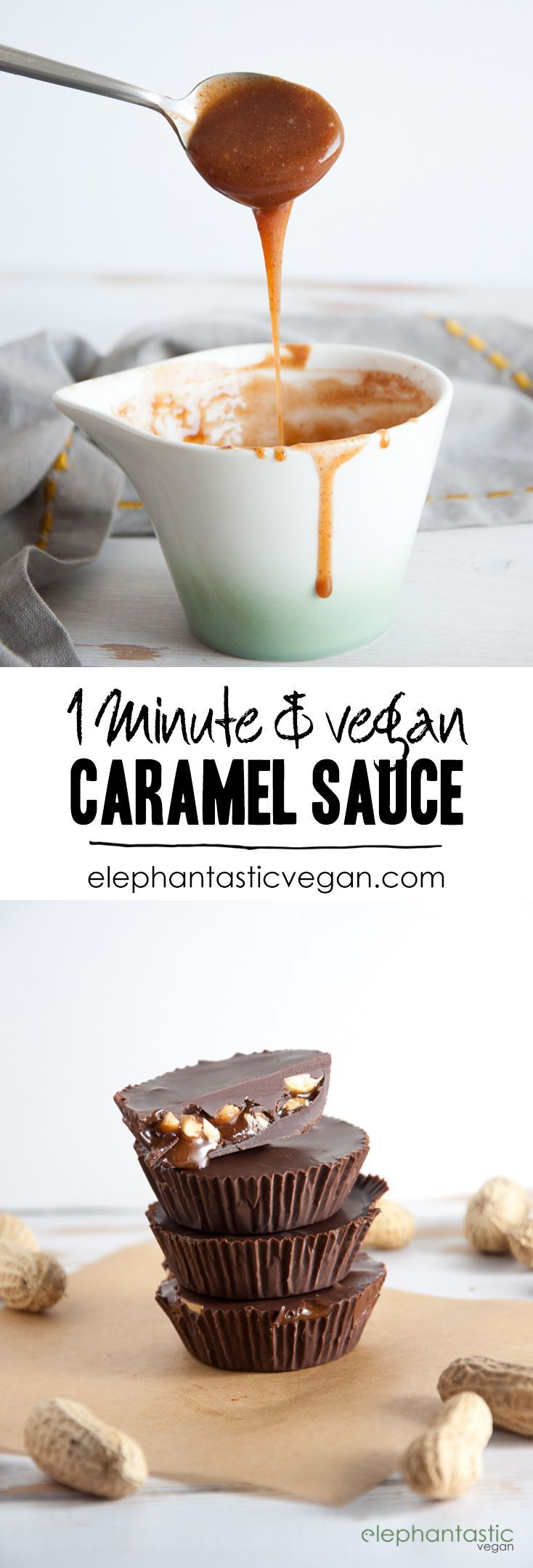 1-Minute, 3-Ingredient Vegan Caramel Sauce | http://ElephantasticVegan.com