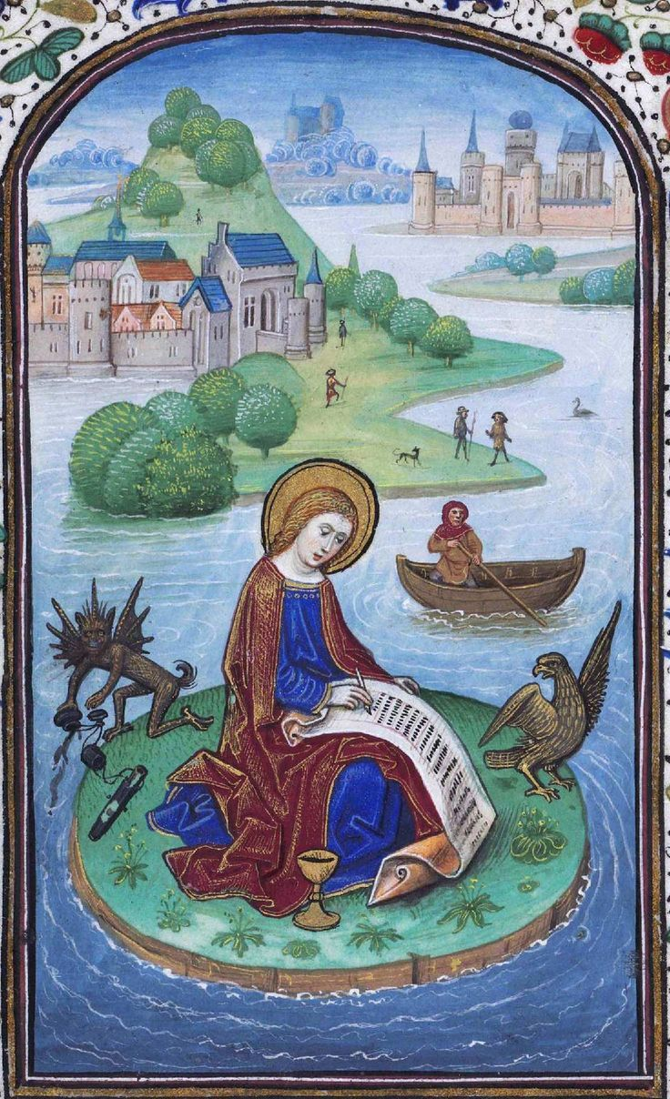 Saint John writing the gospel and #devil. Horas de Leonor de la Vega Vitr/24/2, fol. 45v http://blog.bne.es/blog/el-diablo-esta-en-los-detalles-digitales/