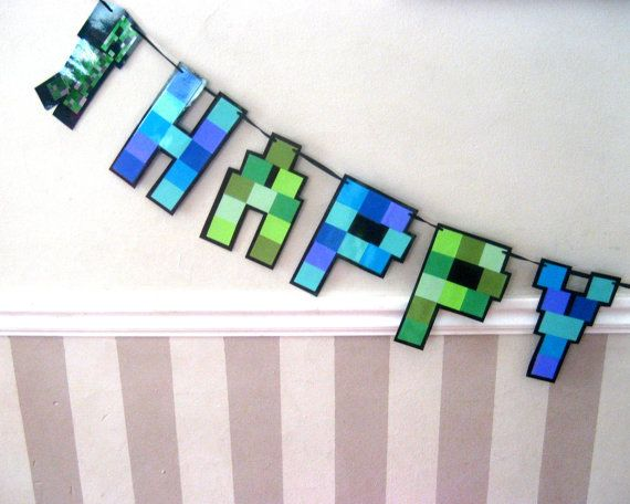 HAPPY BiRTHDAY Banner  pixelated  Giant size by Devany on Etsy, $35.00
