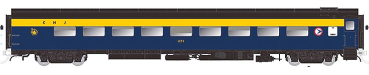 CC&F 52-Seat Dayniter Leg-Rest Coach No Skirts - Ready to Run - Super Continen -- Central Railroad of New Jersey NJDOT #271 (blue, orange, b...
