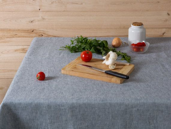 Linen tablecloth-Grey blue tablecloth-Dining by LinenHomeDecor