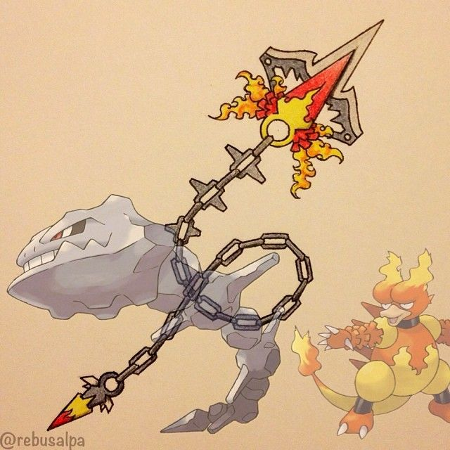 Pokeapon Fusion - Magmar & Steelix. Request by @blake_star. No more requests, I'll continue the 3rd Gen.