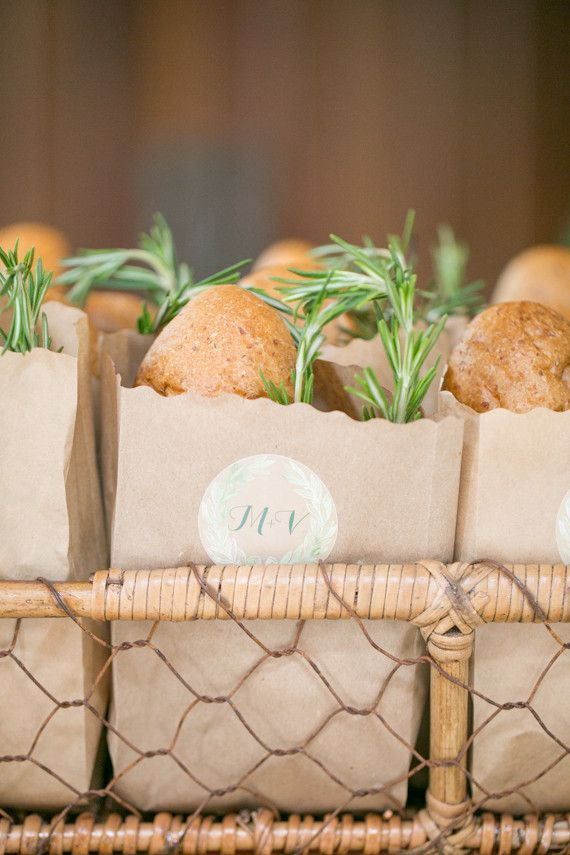 Bread in paper bag with sprig of rosemary. Wedding logo on front. Could do in gold font.  Tuscan romance wedding inspiration | Real Weddings and Parties | 100 Layer Cake
