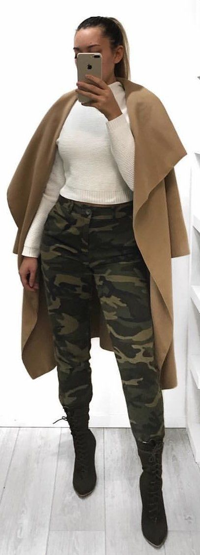 #winter #outfits brown cardigan and white turtle-neck sweater with black and green camouflage pants