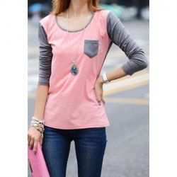 Ladylike Color Matching Long Sleeved Cotton T-Shirt For Women