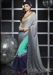 Casual Wear  Georgette Grey Lace Border Work Saree