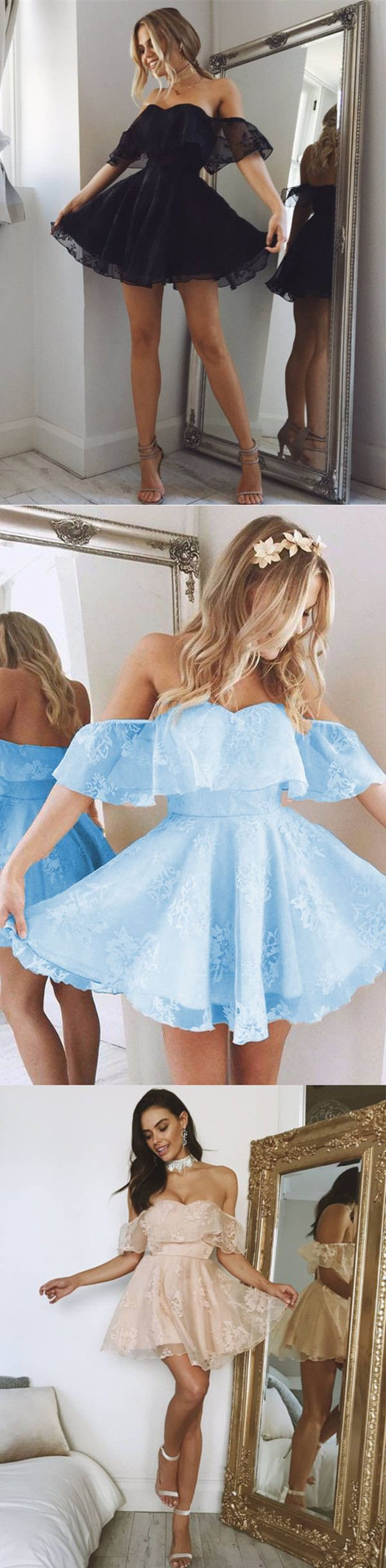 Short A-line Sweetheart Ruffles Shoulder Homecoming Dresses 2017 Cute Lace Prom Dresses For Graduation Party