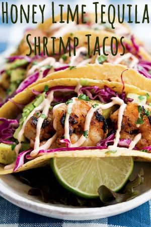 Honey Lime Tequila Shrimp Tacos... These would be great with the cauliflower tortillas we made for the first time this week. I will also use my paleo chipotle mayo with them instead of the chipotle cream.