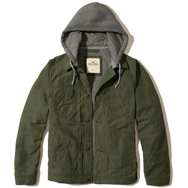 Hollister Hoodie Twill Trucker Jacket ($100) ❤ liked on Polyvore featuring men's fashion, men's clothing, men's outerwear, men's jackets, coats, men, olive, mens green military jacket, mens jackets and mens utility jacket