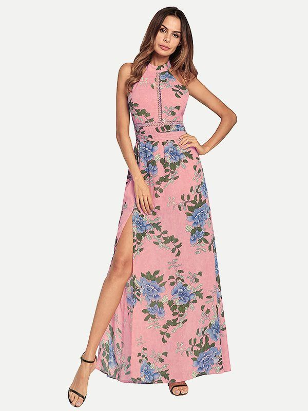 9542c635e77c1 Vinfemass Halter Neck Floral Printed Slit Side Hollow Long Dress in ...