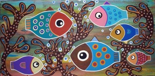 RUG HOOK PAPER PATTERN 6 Fish FOLK ART Abstract MODERN Design 9 x 18 Karla G | eBay