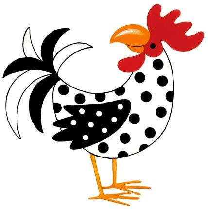 ARM - GALLINITAS. Técnica : Patchwork, pintura, bordado/// Polka-Dotted Rooster