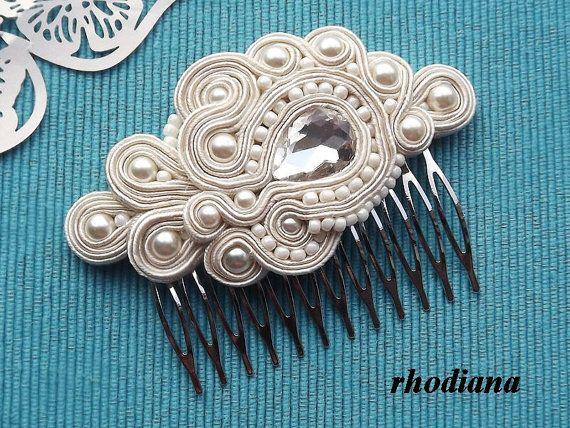 CRUDO/marfil Soutache peine accesorio del pelo por RhodianaSoutache