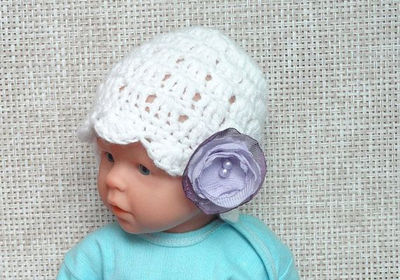 Crochet lace Hat / Crochet Baby Hat / Baby Girl Hats / Newborn Girl Hat  Baby Shower Girl  Girls flower Hat  Newborn Hat  Crochet spring Hat