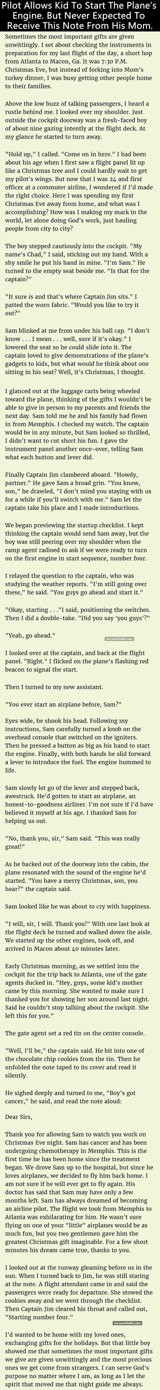 Pilot Allows Kid To Start The Plane's Engine But Never Expected To Receive This Note From His Mom