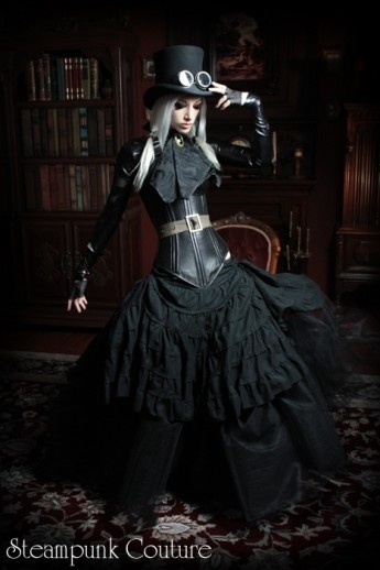 Black steampunk dress