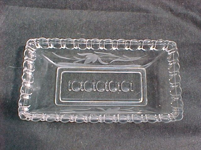 """APOLLORect. Low dish or trayAdams & Co., Pittsburgh, PA United States Glass Co., Pittsburgh, Pa, at Factory """"A""""1886Crystal w/ Wheel cut floralaka CANADIAN HORSESHOE, FROSTED FESTAL BALL, SHIELD BAND, THUMBPRINT & PRISMS $10.00"""