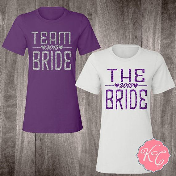 Team Bride Shirts: Custom Bachelorette Party Shirt for Bride, Bridesmaid, Maid of Honor, Flower Girl with Glitter