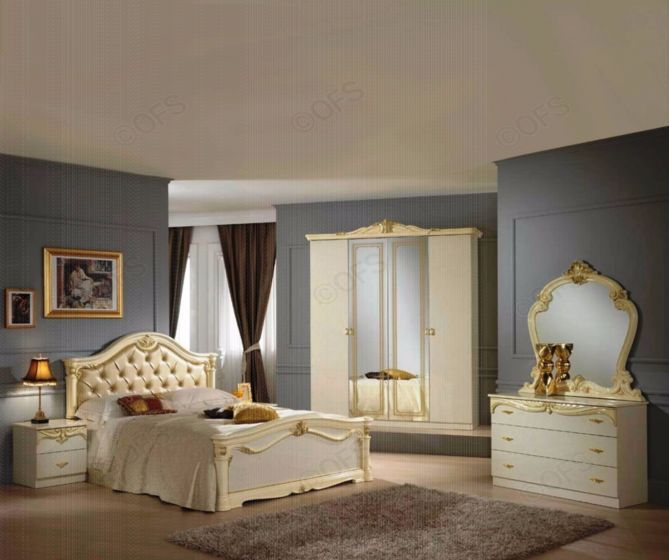 Ben Company Eva Beige and Gold Finish Italian Bed Group Set with 4 Door Wardrobe #Italian #Bed  #Wardrobe #furniture #bedroom #bedroomset #home #homedecor #homeimprovement