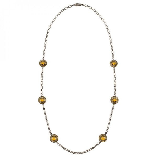 Antique Bronze Bonded 24 Inch Fashion Necklace with Brown Topaz Color and Yellow Color Cubic Zirconia Accent Stones in Antique Bronze Tone. #mycustommade
