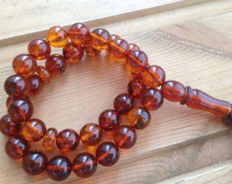 Amber Islamic Prayer beads, Muslim Rosary 33 beads الكهرمان