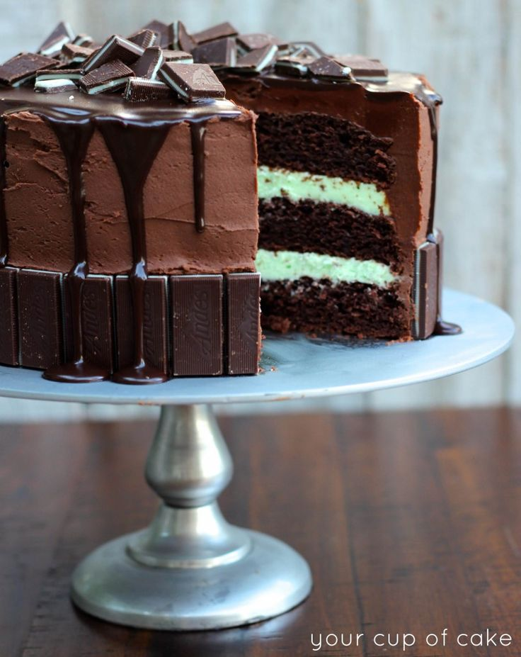 Andes Mint Cake - topped with chocolate ganache and Andes Mints.