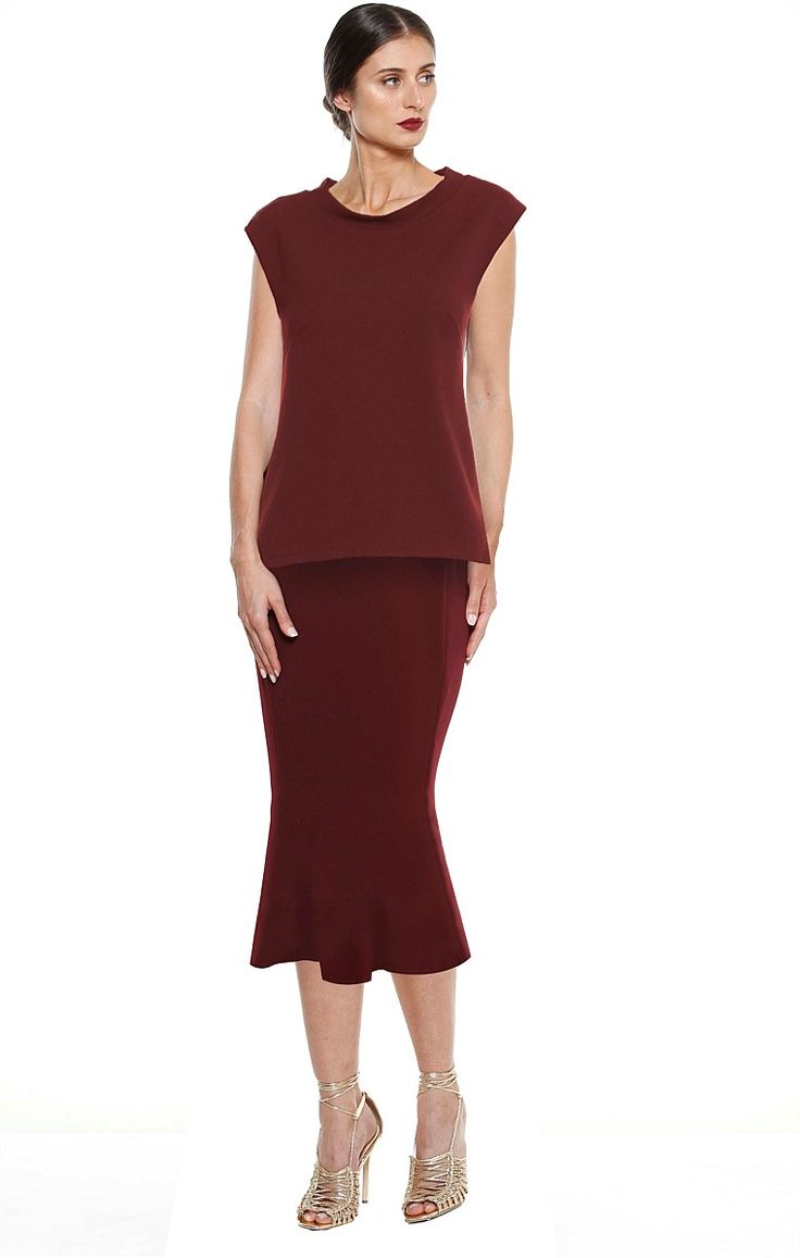CORVAIO LONG CAP SLEEVE HIGH NECK CREPE TOP IN BURGUNDY