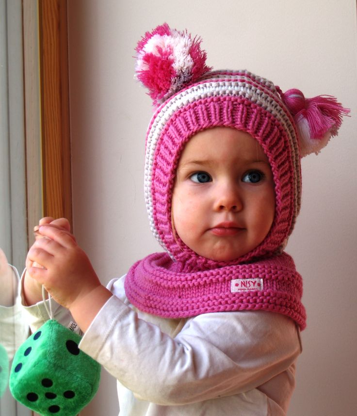 Waldorf inspired winter and snow hat. Hand knitted hoodie / balaclava hat for baby, toddler, child. Made from 100% merino wool in pink, grey and white. Soft and very functional - perfect to keep the little ones warm and cozy during cold days           Size: 6-12 Months  1-3 Years 3-6 Years 6-10 Years           Price: 39$