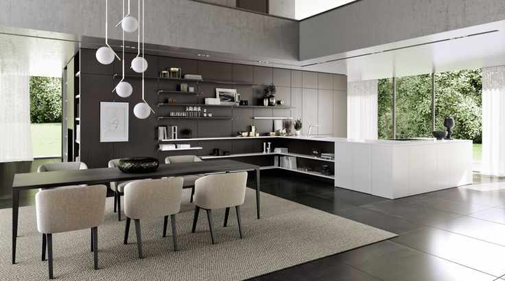 SieMatic PURE / SE 8008 LM + SE 4004 H: The kitchen as reflection of your own personality: What you love, you want to show, not hide – In this planning example, closed wall cabinets have been replaced by the highly flexible SieMatic panel system FloatingSpaces. The variable shelves, which are available in 13 mm or 28 mm thicknesses, almost seem to float and offer as much space as you wish for your beautiful and useful things.
