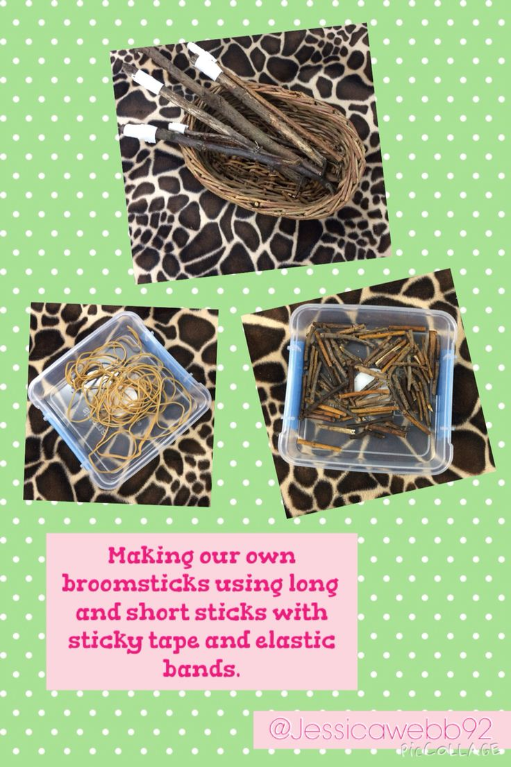 Making our own broomsticks using long sticks with double sided tape and shorter sticks. EYFS