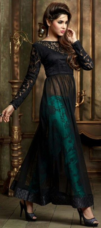 441557 Black and Grey color family Bollywood Salwar Kameez in Net fabric with Lace work .