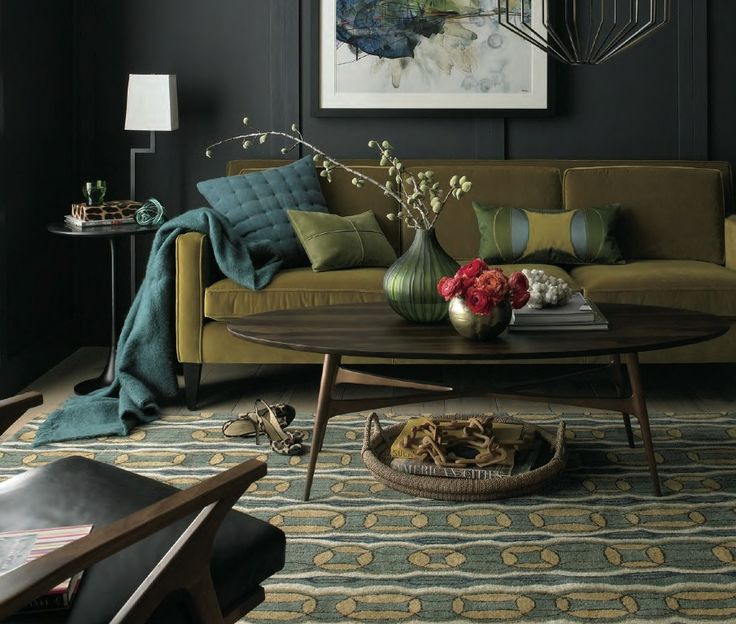 Toned hues of Yellow, Green and Blue make this brooding Analogous colour scheme. - Crate & Barrel 2013 Upholstery Catalogue