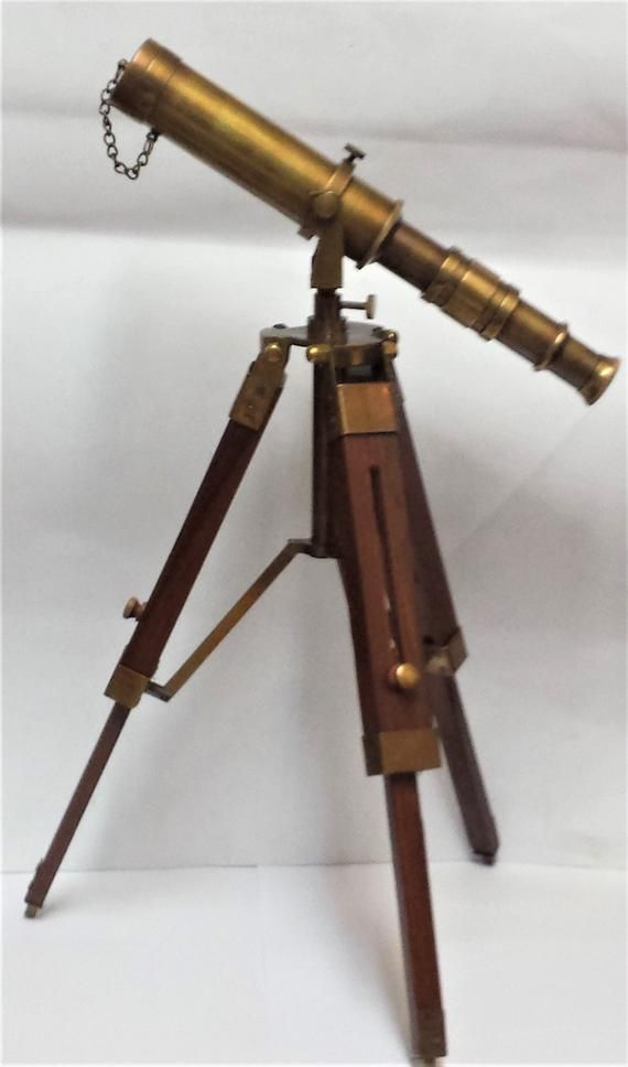 "Chrome 10/"" Solid Brass Telescope with Tripod Stand Decorative Collectible Decor"