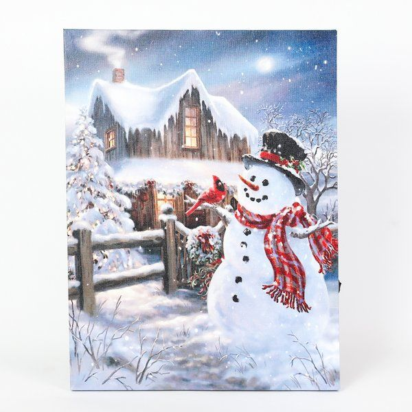 Winter Wonderland Snowman Print In Yellow White With Led Lights Led Wall Art Christmas Wall Decor Glam Christmas Decor