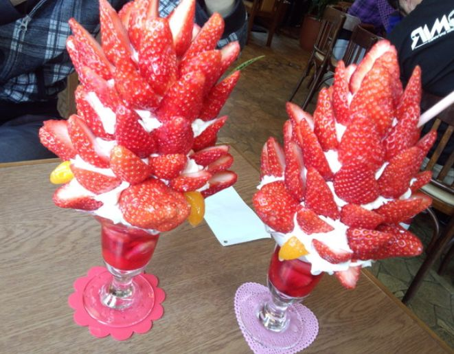 Crazy towering parfaits of cafe Strawberry live up to the restaurant's name
