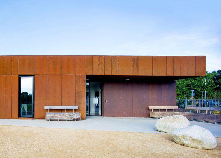 ABK updates 1960s leisure centre with new Corten-steel facade