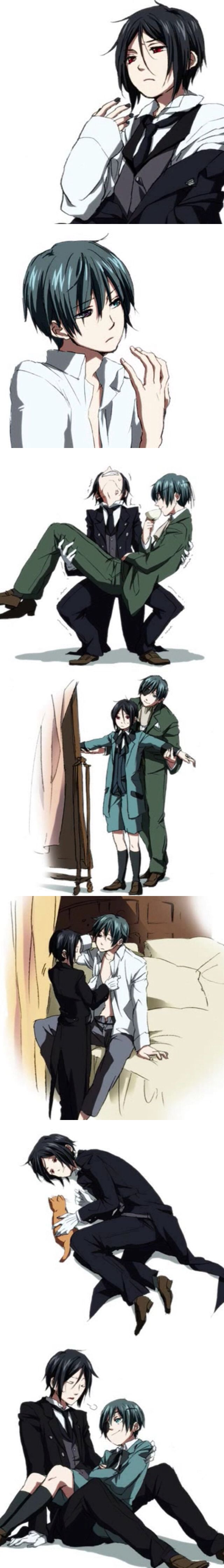 If Ciel was older than Sebastian (him trying to lift Ciel up! XD )