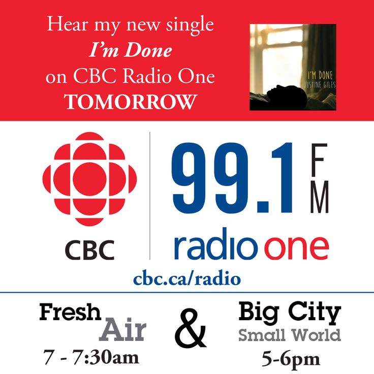 "CBC Toronto is giving me DOUBLE the love tomorrow!!! My Ontario-wide radio debut for my new single ""I'm Done"" is tomorrow morning on Fresh Air between 7-7:30am 99.1 FM in Toronto, 99.9 FM in Sudbury..  And THEN you can also catch the track on Big City Small World from 5-6pm (which is also on 99.1 FM in Toronto OR you can stream from anywhere online here: cbc.ca/radio)"